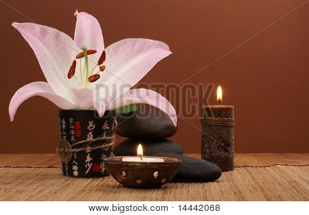 Oriental spa set over dark background