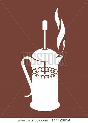 Vector illustration of french press on brown background