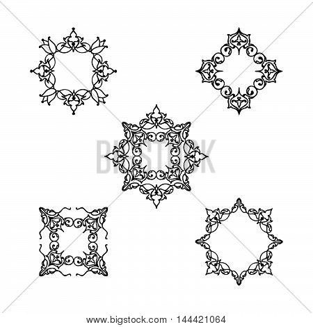 Ornamental line floral pattern set. Flower mandala arabic ornament collection