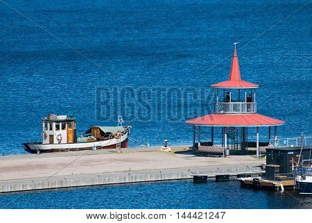 LAPPEENRANTA, FINLAND - AUGUST 8, 2016: Top view of the pavilion with observation deck on the small pier near Saimaa Lake