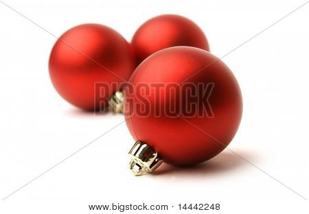 White Christmas balls isolated on white background