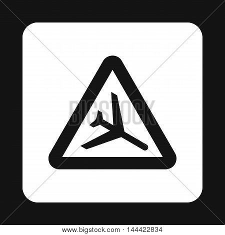 Sign airport icon in simple style isolated on white background. Rules of the road symbol