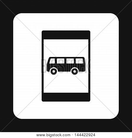 Sign bus stop icon in simple style isolated on white background. Rules of the road symbol
