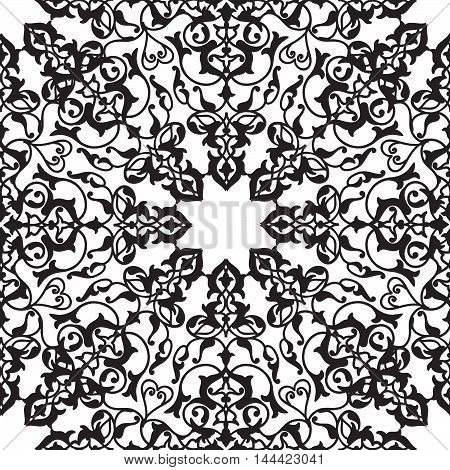 Abstract flourish seamless pattern Floral multicolor mandala ornamental texture. Stylish abstract ornamental lace background