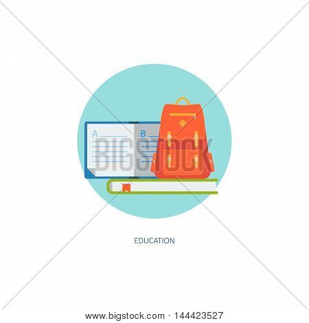 School icon in circle. Creative concept of education and on-line learning. Flat design, minimalist style, modern colours. Vector illustration for your projects, web, banners, infographics, app, sites