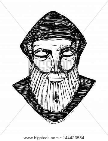 Hand drawn vector illustration or drawing of a monk in meditation