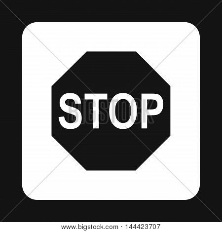 Stop sign icon in simple style isolated on white background. Rules of the road symbol