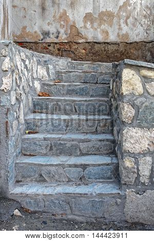 Small Outdoor Staircase Made From Stone Tiles