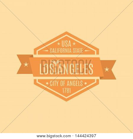 Hexagonal emblem with the text of the city of Los Angeles in a retro style isolated on a yellow background vector illustration.
