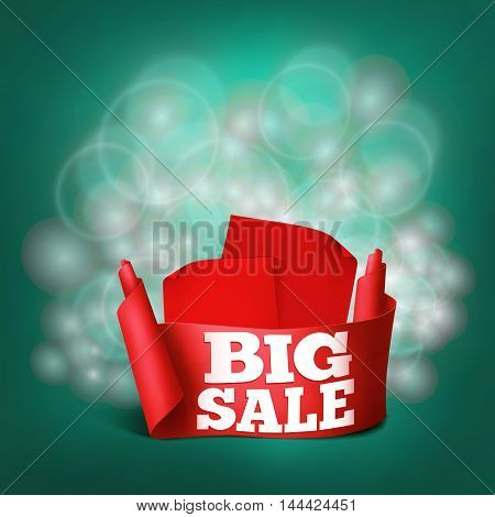 Red realistic curved ribbon paper big sale banner Vector illustration