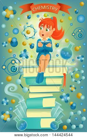 Ginger student girl sitting on top of books. I love chemistry education concept. Vector illustration