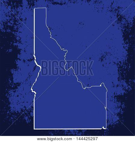 3D Idaho State USA Grunge Blueprint outline map