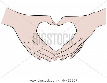 hands folded in the shape of a heart. vector illustration.