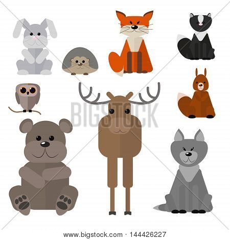 Animals of the forest set wild animals on a white background vector