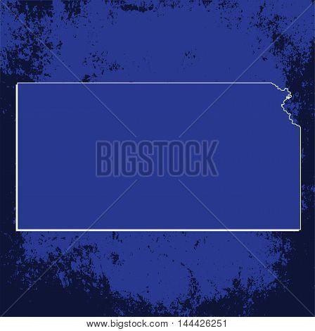 3D Kansas State USA Grunge Blueprint outline map