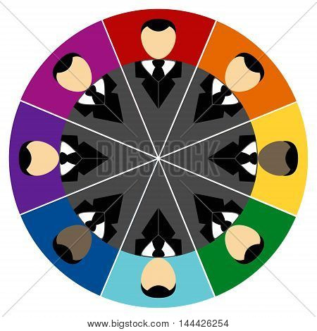 Business partnership company logo vector rainbow background