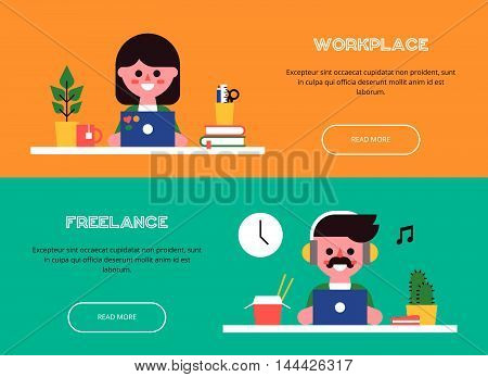 Young man and woman are sitting at the table and working at laptops. Set of cool banners. View of the workplace. Vector colorful illustration in a flat style.