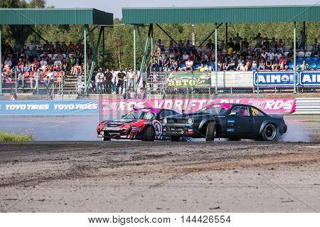 Nizhny Novgorod Russia Aug 20, 2016 : Russian Drift Series Stage 5 RDS Zapad West Alexei Chepa Golovnya vs Montenegrins Andrew. Nissan 200SX S13 S14.