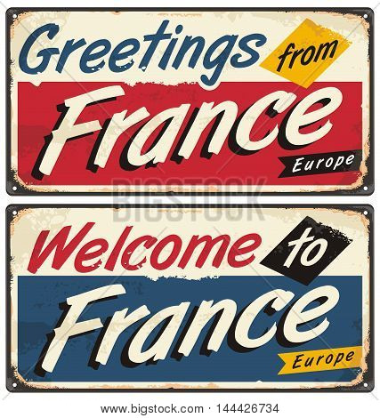 Welcome to France retro metal plate templates. Vintage souvenir or postcard concept on antique tin background.