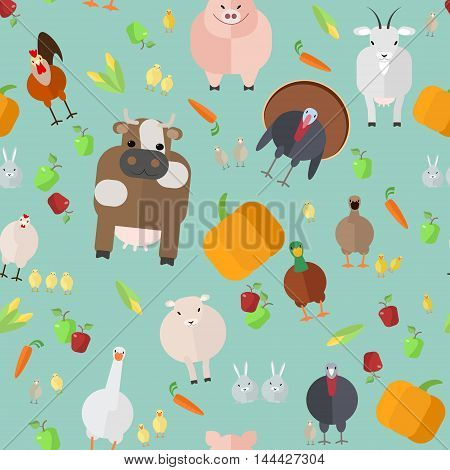 seamless texture farm animals vegetable vector on a blue background