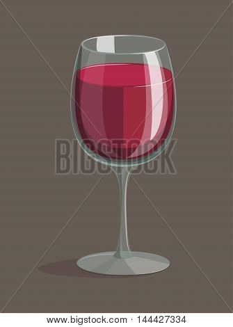glass of red wine on a brown background