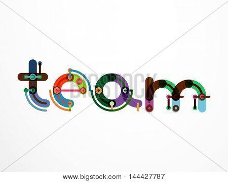 Team word lettering banner. Geometric thin line minimal design