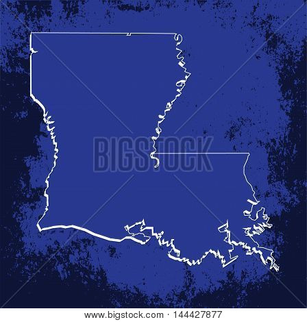 3D Louisiana (USA) Grunge Blueprint outline map with shadow