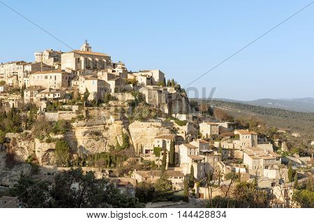 Panorama of picturesque Gordes village in Provence hills