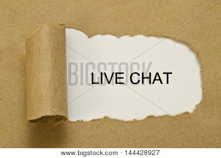 LIVE CHAT word written under torn paper.