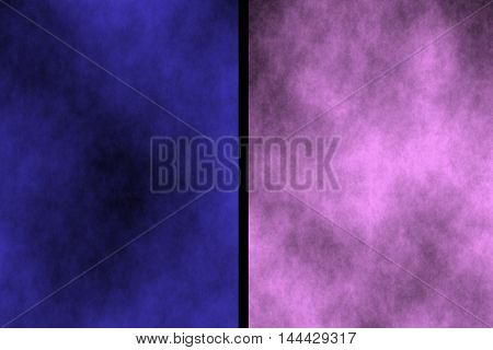 Illustration of dark blue and pink divided smoky background