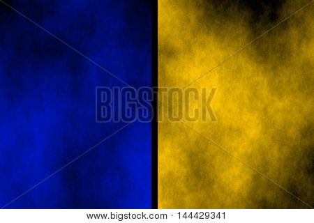 Illustration of blue and orange divided smoky background