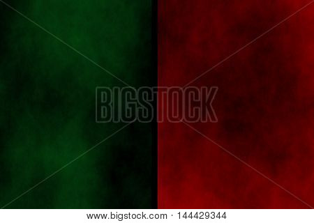 Illustration of dark green and red divided smoky background