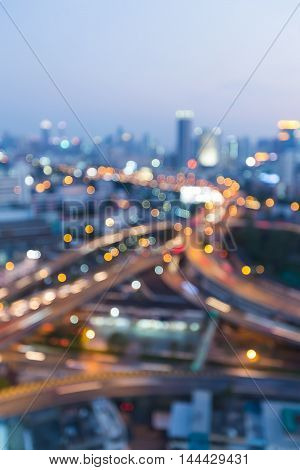 Abstract blurred lights city highway interchanged night view