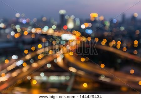 Blurred lights highway interchanged city  night view