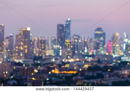 Blurred bokeh background city and office building lights night view