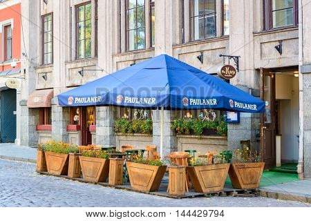 RIGA, LATVIA - SEP 7, 2014: Restaurant in the Old Town of Riga. Riga's historical centre is a UNESCO World Heritage Site