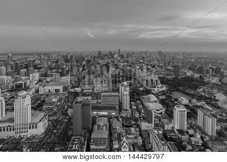 Black and White, Aerial view, cityscape downtown skyline before sunset
