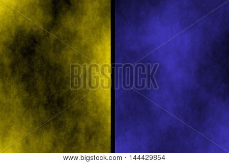 Illustration of yellow and dark blue divided smoky background