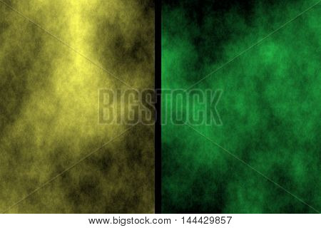 Illustration of yellow and green divided smoky background