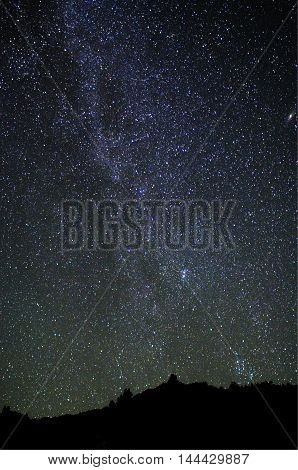 milky way on a clear night in the mountains