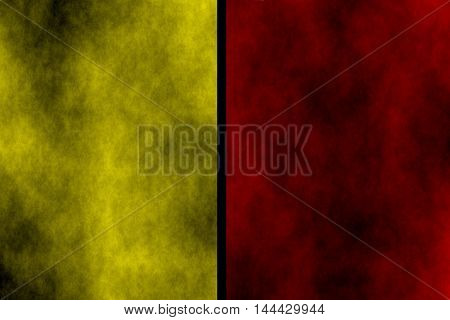 Illustration of red and yellow divided smoky background