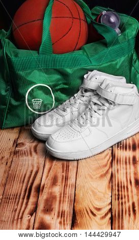 Pair Of High White Sneakers , Sport Bag For Basketball, Basketba
