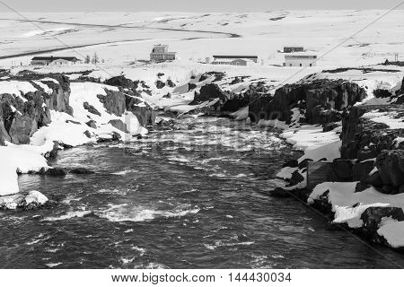 Black and White, Beautiful big waterfall and clear blue sky in winter, Iceland landscape