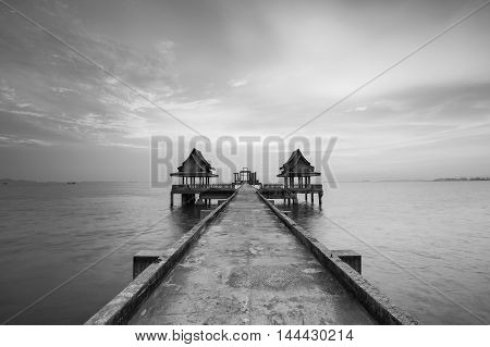 Black and White, walking way leading to the sea with skyline background