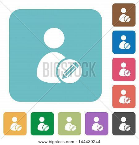 Flat edit user account icons on rounded square color backgrounds.
