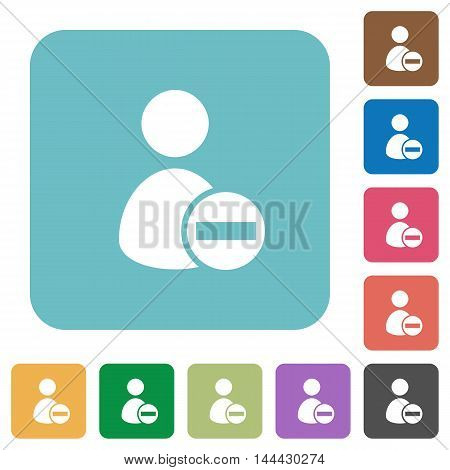 Flat remove user account icons on rounded square color backgrounds.