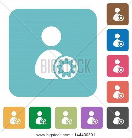 Flat user account settings icons on rounded square color backgrounds.