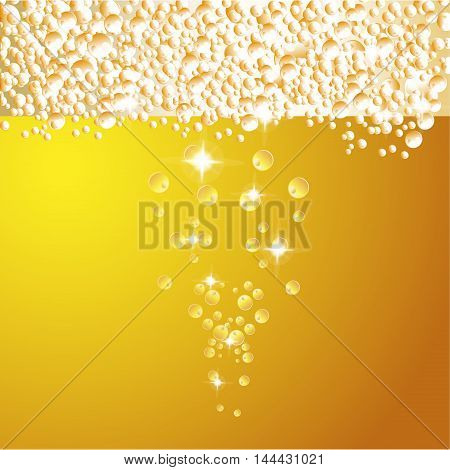Water drops on beer background . Fresh texture foam drop beer background beverage golden cold drink. Abstract cool bright liquid beer background clear transparent refreshing brewery.