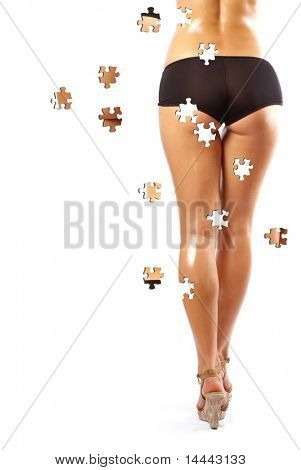 Back and ass of beautiful woman isolated on white, puzzle