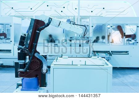 Industrial robot working in factory,Controler of robotic hand.
